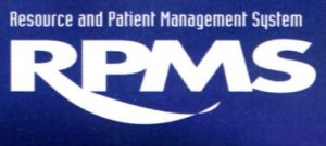 Resource and Patient management System RPMS, white text on blue background