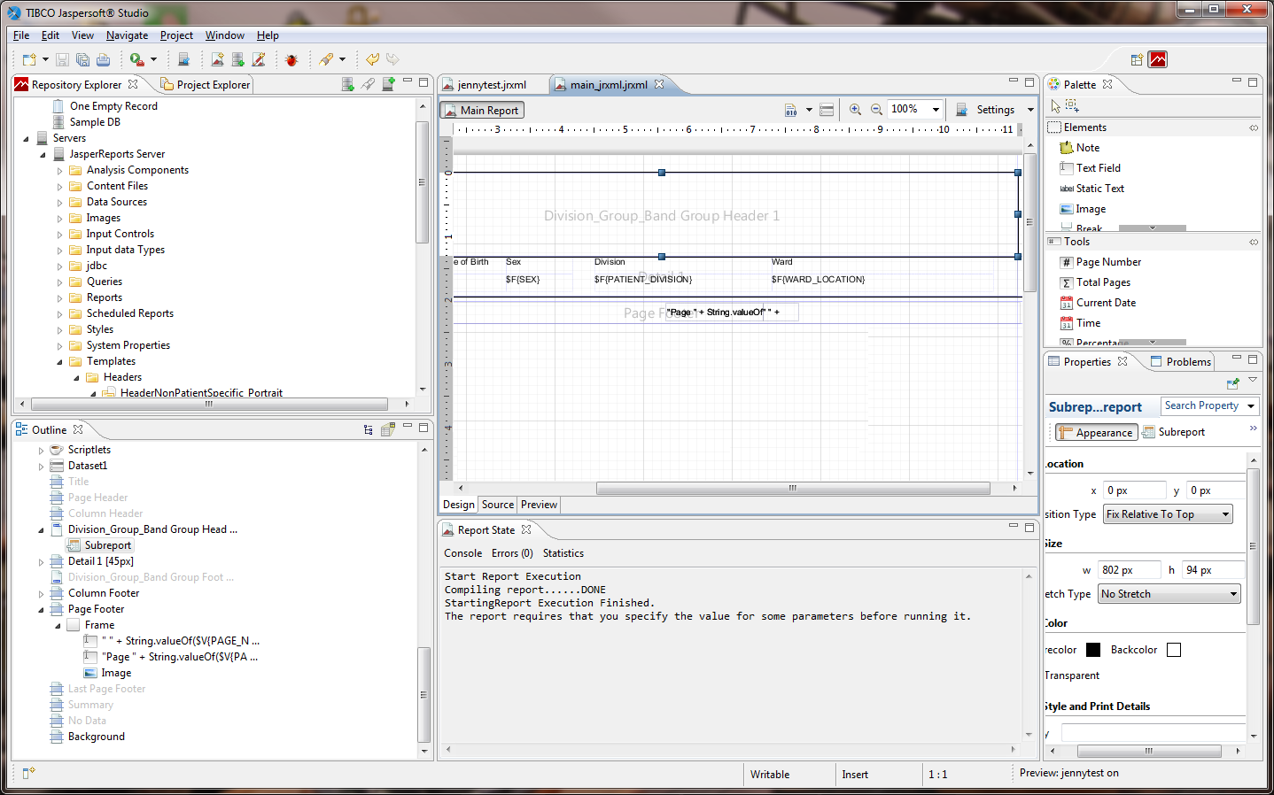 Screen shot of the JasperSoft Studio report development application.