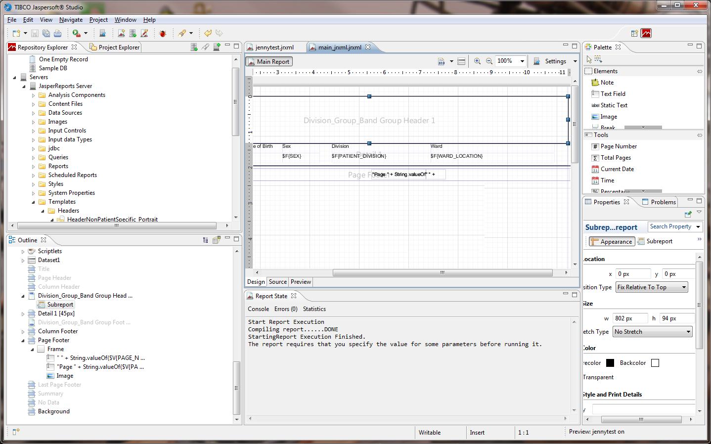 Screen shot of the JasperSoft Studio report development application.