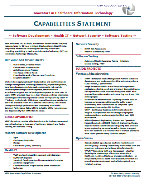 KRM Capabilities Statement